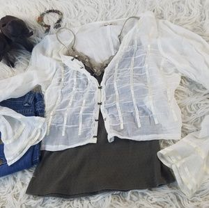 Free People ⚜ Cropped Peasant Blouse/ Camisole Set